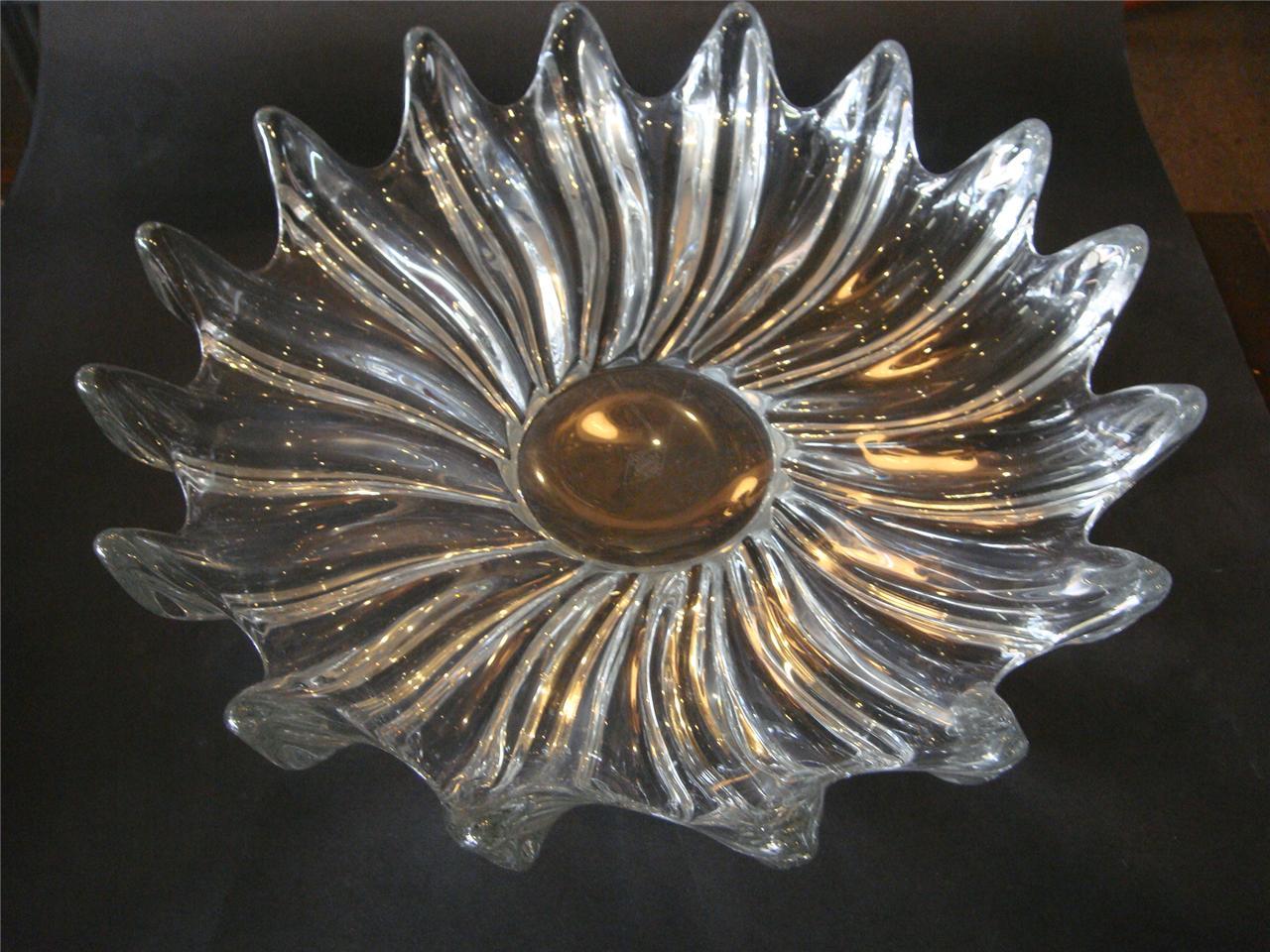 Vintage large french art vannes crystal bowl glass