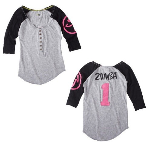 nwt zumba fitness zweet baseball tee shirt top black pink grey ebay. Black Bedroom Furniture Sets. Home Design Ideas