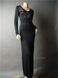 Black Jersey Maxi Dress on Jeweled Rhinestone Black Rayon Jersey Knit Long Sleeve Maxi Dress M