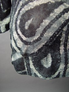 Abstract Pattern Wrap Open Tie Front Long Blk Gry Sweater Knit Duster