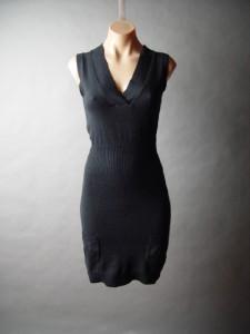 Black sleeveless V neck sweater dress in a luxurious angora wool blend