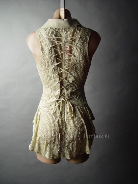 Details about Antique Style Sheer Lace Corset Back Victorian Steampunk