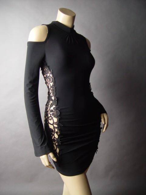 Gothic high neck tattoo lace cutout design cold shoulder blk club 24 mv dress l ebay for Gothic neck tattoos
