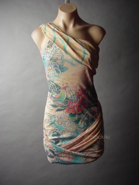 Ed hardy tattoo print koi fish edgy punk draped mesh women for Koi fish dress