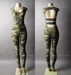 Camouflage Camo Cutout Cage Back Top Pants Bodysuit
