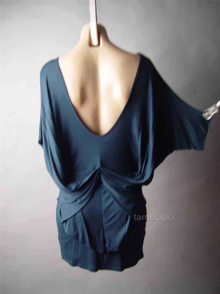Modern minimalist draped gathered low cut back tunic 37 mv dress m l
