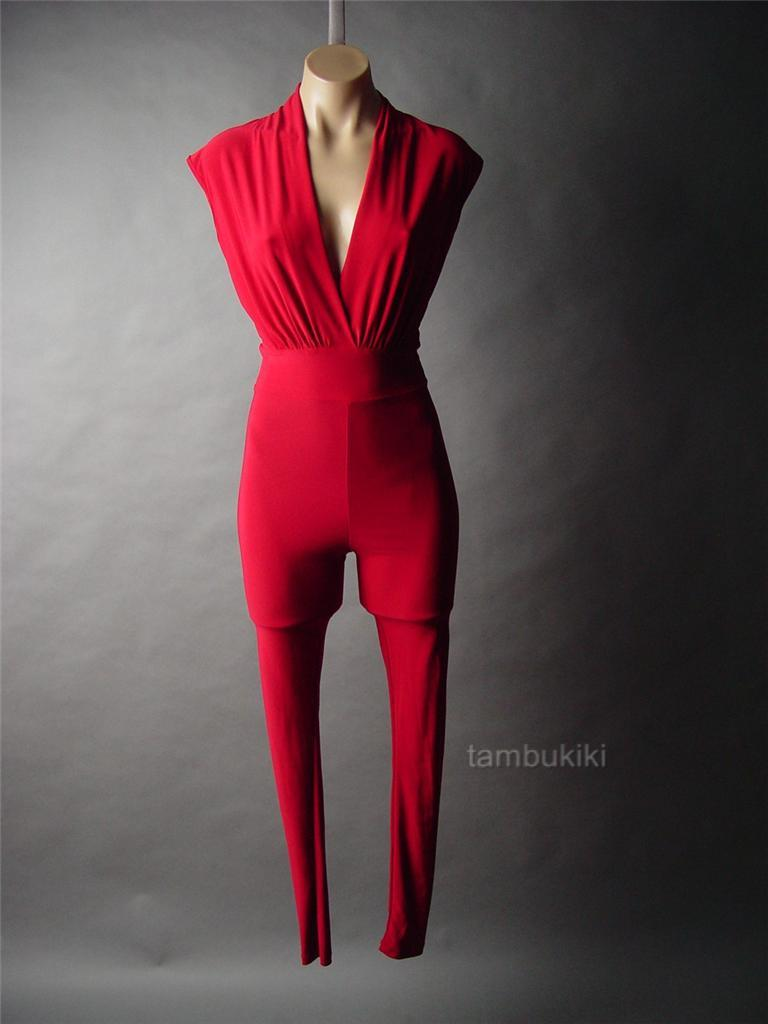 50s Clothing For Women Pants Red-low-cut-evening-dress-pant