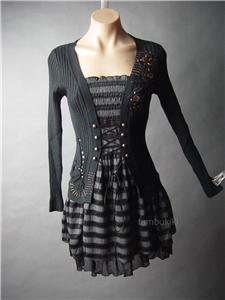 corset lace up waist gothic lolita punk stripe jumper