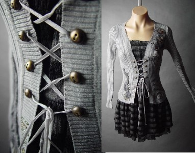 stripe corset lace up waist lolita punk grunge jumper
