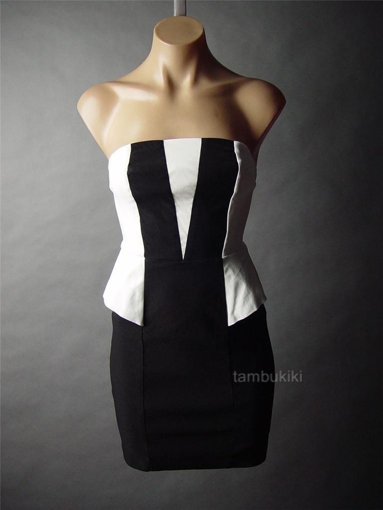 ... Black-White-Tuxedo-Style-Peplum-Sheath-Mini-Cocktail-Party-55-mv-Dress
