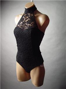 Black lace choker high neck halter goth vamp women top leotard 49 ac