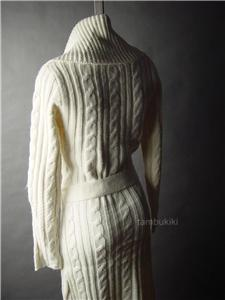 Ivory Cable Knit Long Duster Shawl Collar Jumper Sweater Jacket 49