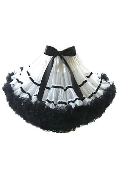 FANCY-DRESS-COSTUME-SHORT-WHITE-BLACK-URSULA-LAYERED-PETTICOAT-O-S-6-10
