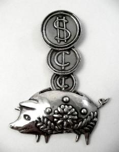RARE 1940s Los Castillo Taxco Piggy Bank Sterling Brooch Pin Early