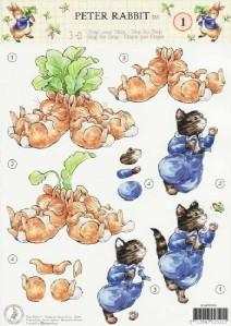 A4-3D-Paper-Tole-Beatrix-Potter-Tom-Kitten-4-Bunnies