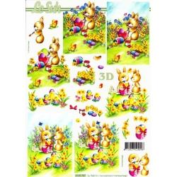 A4-3D-Paper-Tole-Painting-Easter-Bunnies-NEW-lots-more-in-my-store