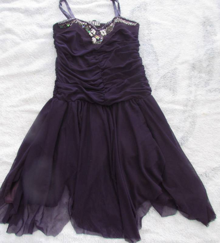 Pretty-Girls-Summer-Party-Dress-Dark-Purple-with-Beading-Sequences-Size-3