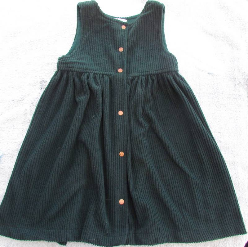 Girls-Dark-Green-Cord-Pinafore-from-Bossy-Breeches-Size-2