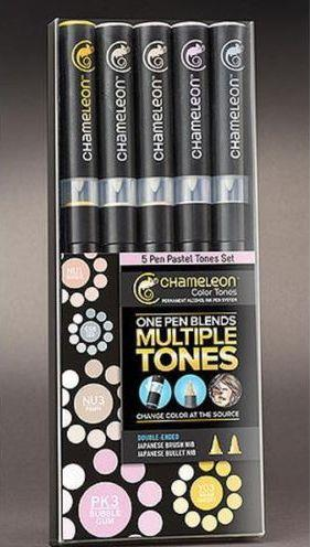 Chameleon Color Tones Markers - Sets of 5 in Cool, Pastel, Primary & Earth Tones