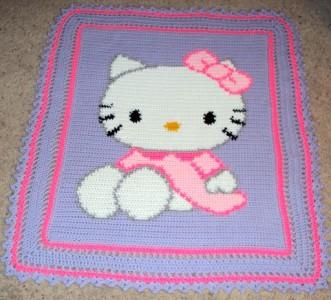 Crochet Pattern For Hello Kitty Baby Blanket : NEW ~ HELLO KITTY Handmade Crochet Baby Child Afghan ...