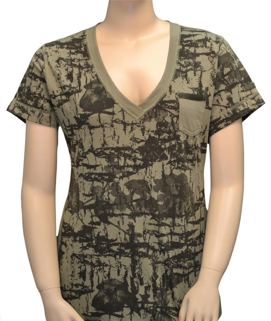 Under armour womens camo t shirt tee shirt v neck semi for Under armour fitted t shirt