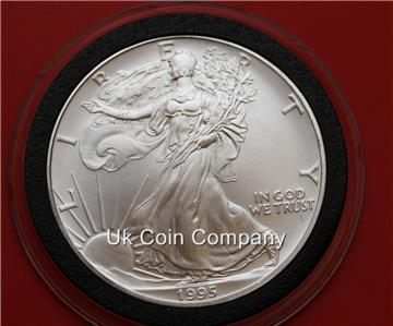 1995 American 1oz Fine Silver Liberty Eagle 1 One Dollar