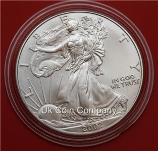 2002 American 1oz Silver Eagle Liberty 1 One Dolar Coin