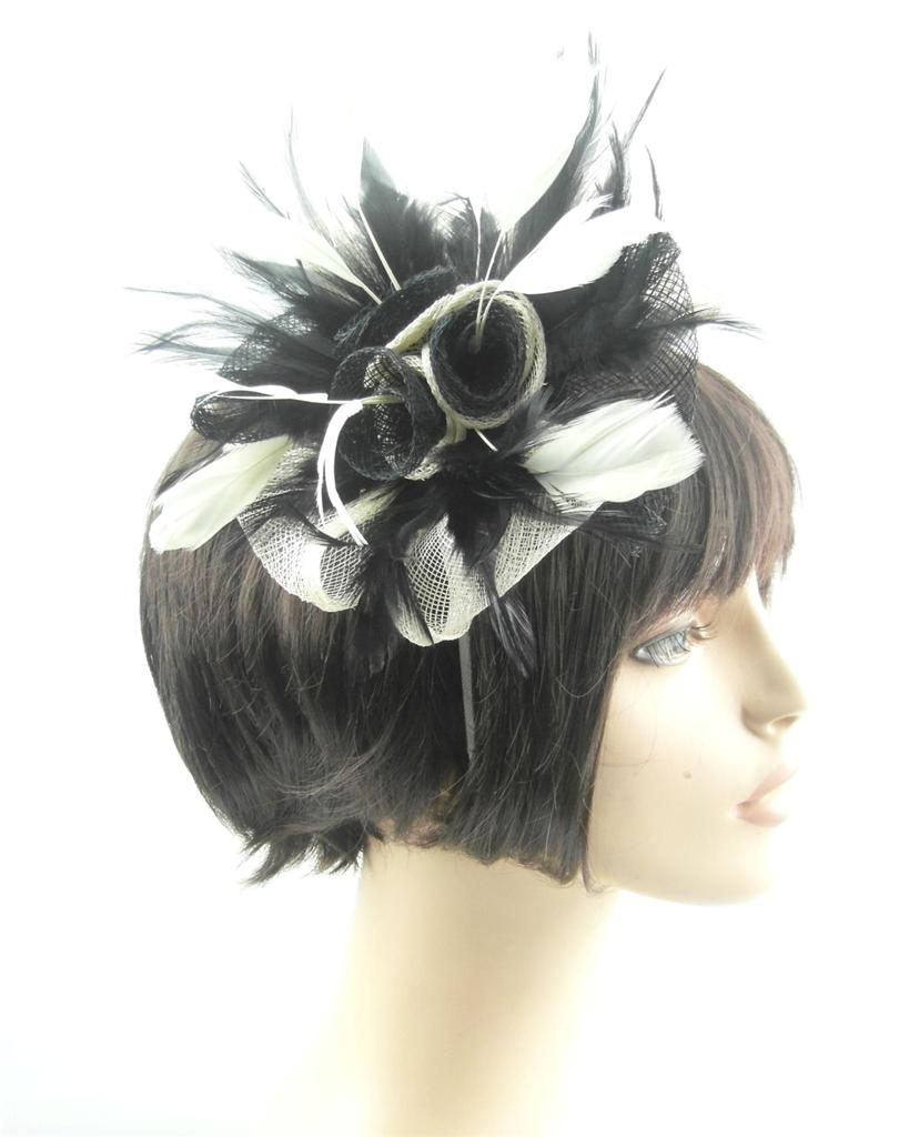 Black-Cream-Sinamay-Hair-Fascinator-with-sprays-of-various-matching-feathers