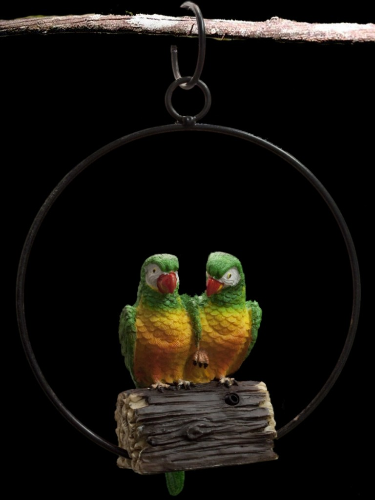 Hanging bird parrot animal garden ornaments with sensor ebay for Outdoor hanging ornaments