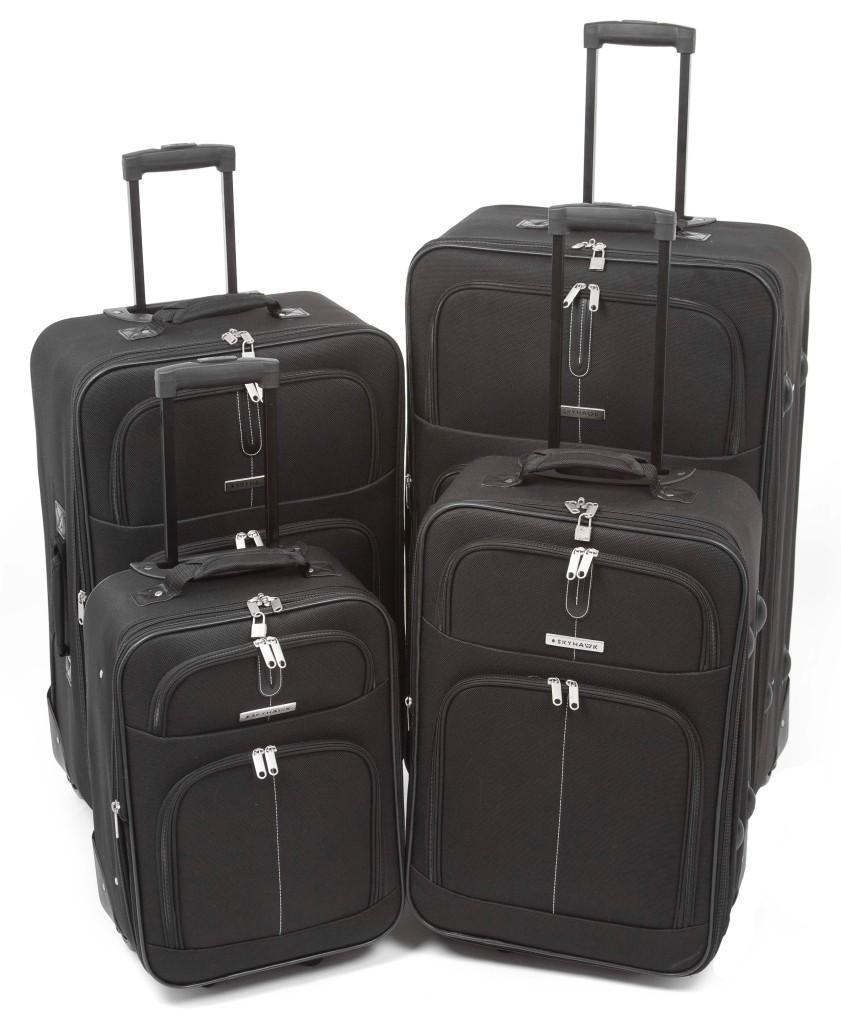 skyhawk rollkoffer schwarz leicht gep ck koffer auf rollen ausziehbarer griff ebay. Black Bedroom Furniture Sets. Home Design Ideas