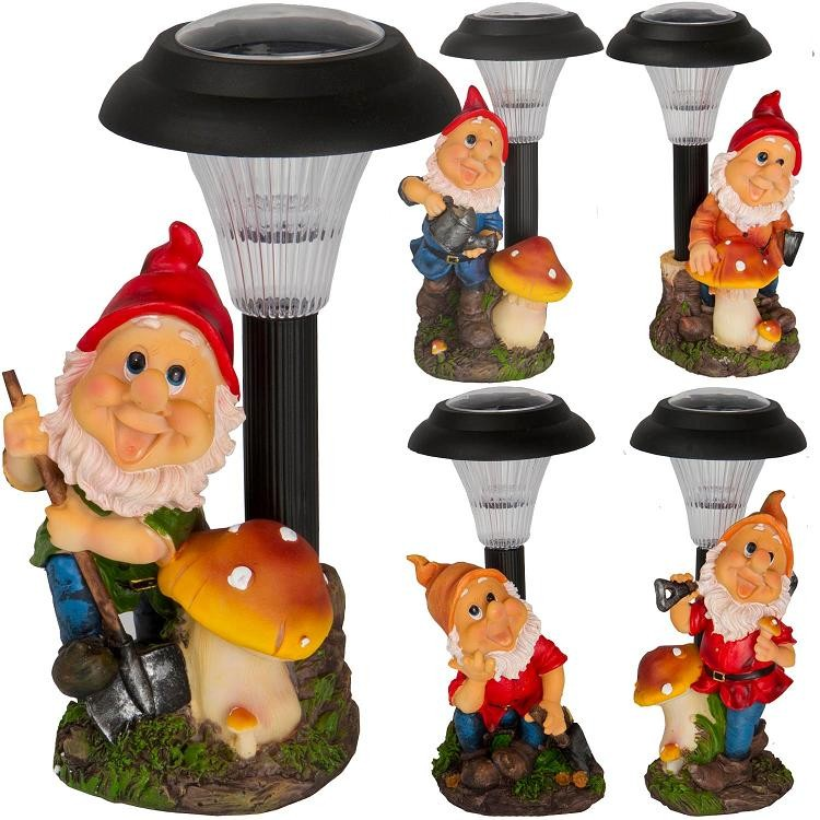 Solar powered outdoor led garden gnome ornament decoration for Gnome 3 decoration fenetre
