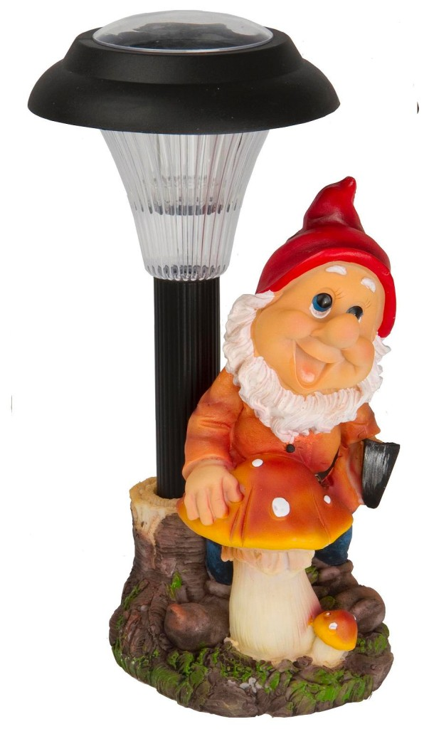 Solar Powered Outdoor LED Garden Gnome Ornament Decoration Light Spotlight La