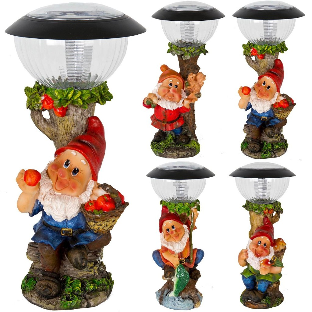 Solar powered led garden gnome elf goblin ornament decoration light spotlight ebay for Gnome 3 decoration fenetre