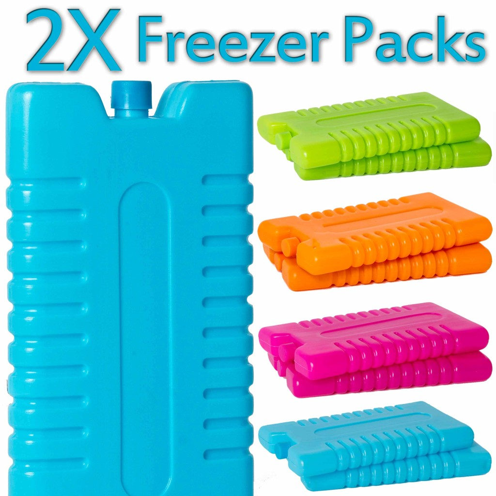 Two x Freezer Ice Blocks Travel Cooler Bag Box Reusable