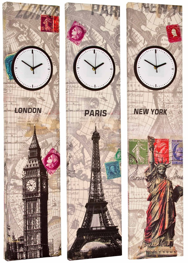 Retro Wall Art tall 90cm canvas working clock wall art picture retro print home