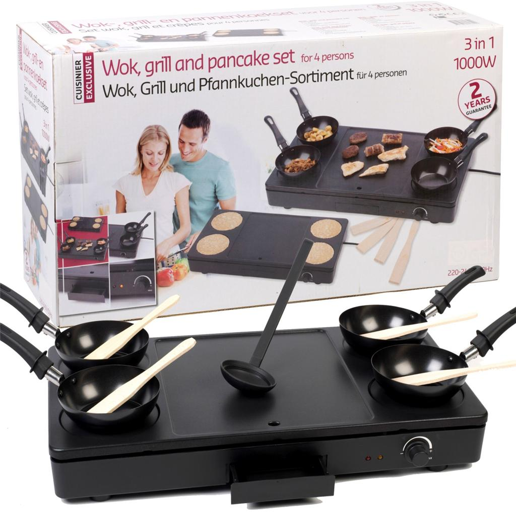 Wok grill pancake 4 person party set 1000w fry cook for Cuisinier wok