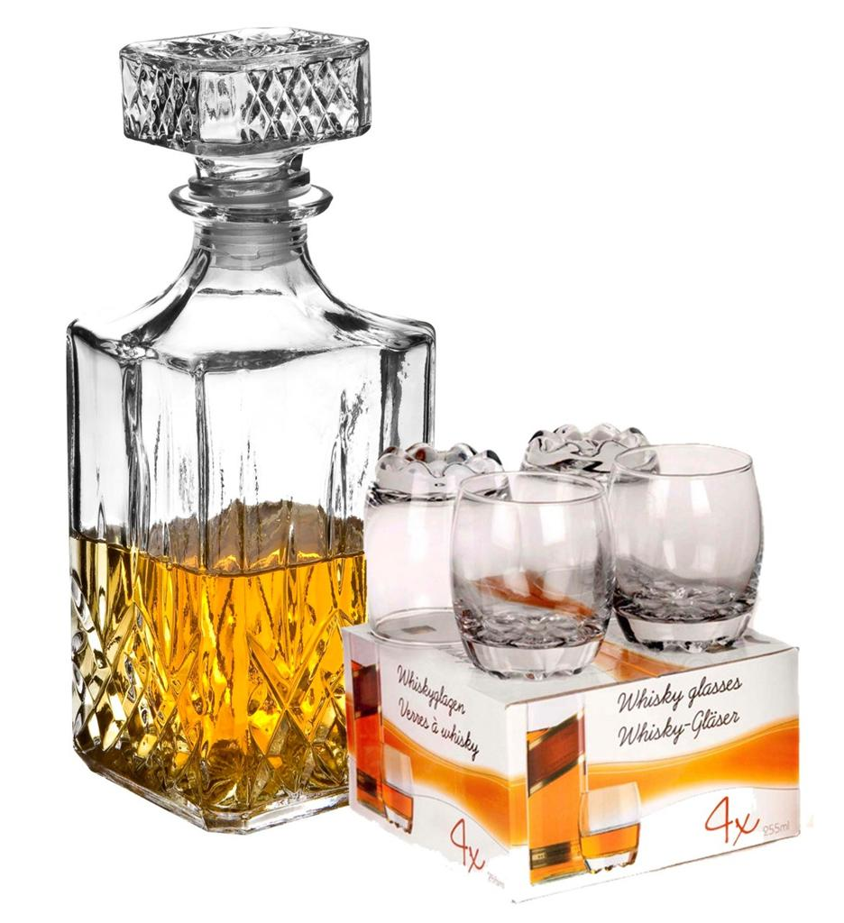 4 x 255ml glass whiskey tumblers with decanter square glass bottle drinking wine ebay. Black Bedroom Furniture Sets. Home Design Ideas