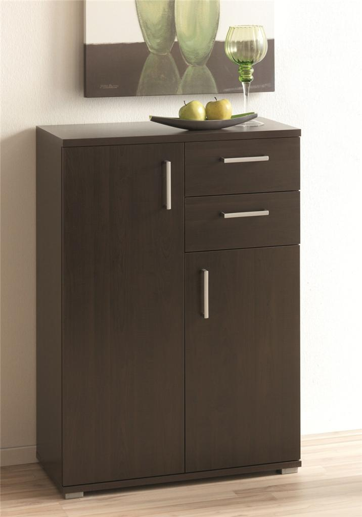 schmal side cabinet 2 door 2 drawer tobacco finish german made furniture storage ebay. Black Bedroom Furniture Sets. Home Design Ideas