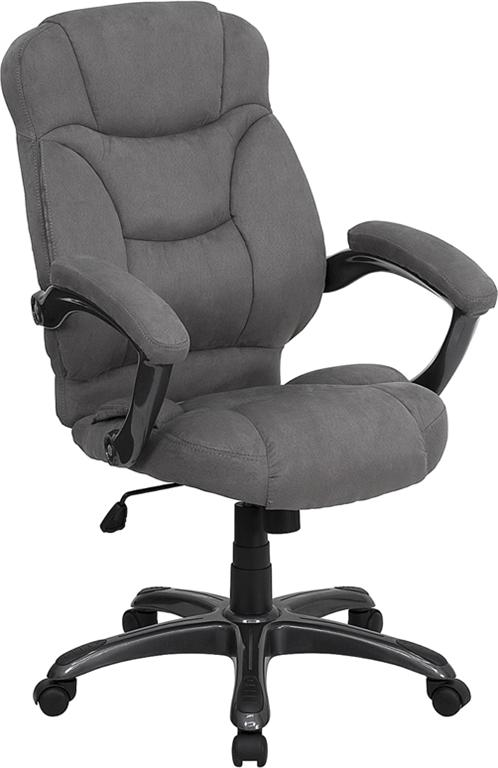 GREY MICROFIBER FABRIC COMPUTER OFFICE DESK CHAIR EBay