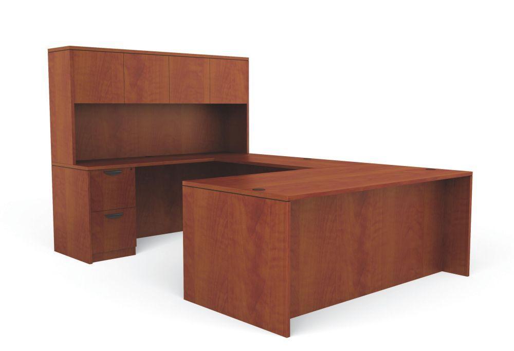 Reversible Dark Cherry Laminate U Shape Office Desk | eBay