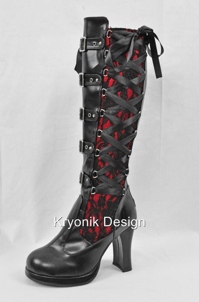 demonia crypto 106 black lace knee high