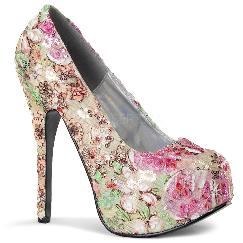 bordello shoes teeze 06 6 pink floral fabric platform