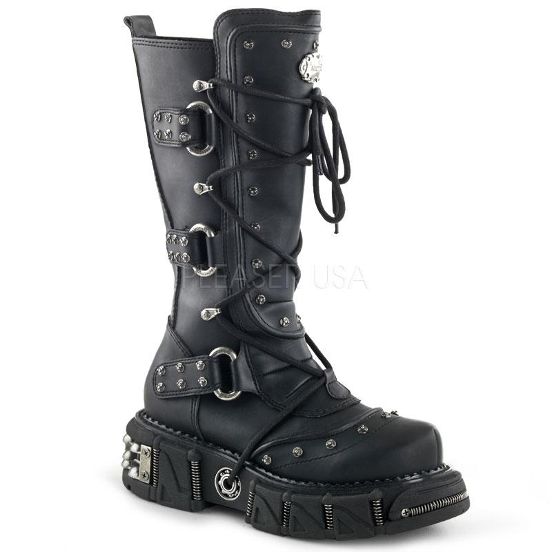 demonia dma 3000 goth gothic cyber black platform knee studded boots men 39 s 7 13. Black Bedroom Furniture Sets. Home Design Ideas