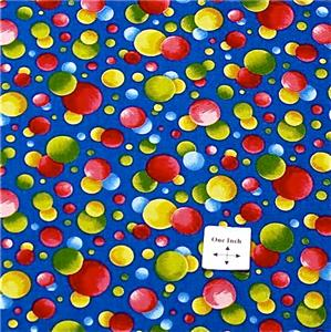 Lakehouse Cotton Fabric Blue Red Yellow Polka Dots FQs
