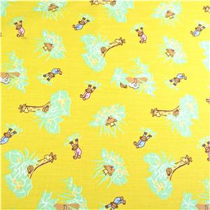 Cotton fabric per yard monkeys palm trees on yellow for Animal print fabric for kids