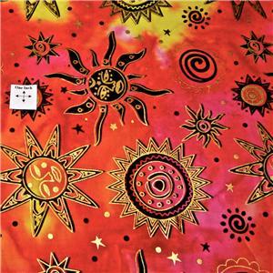 Celestial batik cotton fabric metallic gold suns stars for Celestial fleece fabric