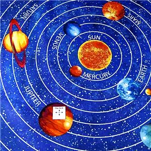 Solar system glow in the dark panel planets stars sky for Solar system fabric
