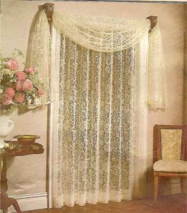 2 Panels 1 Scarf Voile Sheer Curtains Drapes - Burgundy