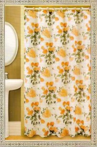 NEW PEACH ROSES FLORAL FABRIC SHOWER CURTAIN