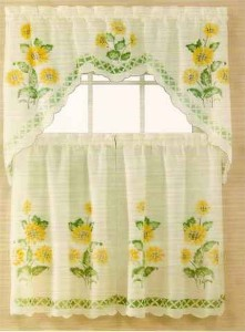 nip set sunflower swag valance and kitchen curtains